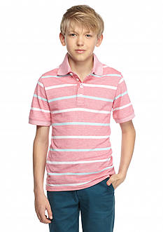 J. Khaki Oxford Stripe Polo Shirt Boys 8-20