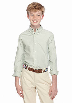 J. Khaki Woven Solid Oxford Shirt Boys 8-20