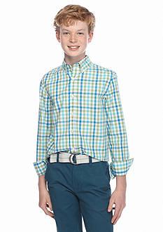 J. Khaki Woven Plaid Shirt Boys 8-20
