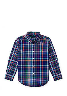 Ralph Lauren Childrenswear Poplin Plaid Long Sleeve Button Down Boys 4-7