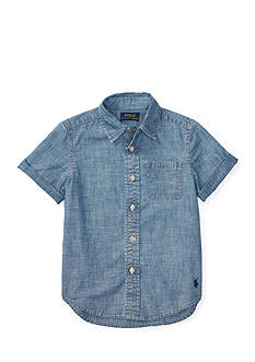 Ralph Lauren Childrenswear Chambray Short Sleeve Button Down Boys 4-7