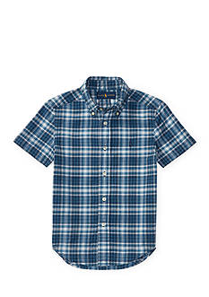 Ralph Lauren Childrenswear Indigo Madras Cotton Shirt Boys 4-7
