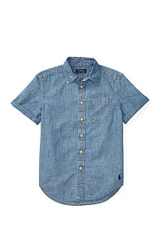 Ralph Lauren Childrenswear Chambray Short Sleeve Button Down Top Boys 8-20