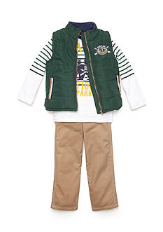 Nannette 3-Piece Bear Vest, Printed Tee, and Pant Set Boys 4-7
