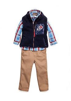 Nannette Sherpa Vest Woven 3-Piece Set Boys 4-7