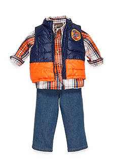 Nannette Plaid Woven Shirt, Vest and Jeans 3-Piece Set Boys 4-7