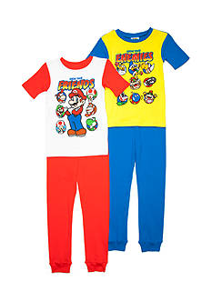 AME Super Mario 4-Piece 'Know Your Friends' Pajama Set Boys 4-20