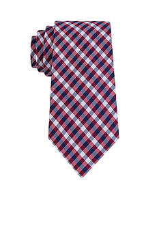 J. Khaki Adam Chevron Check Red Tie