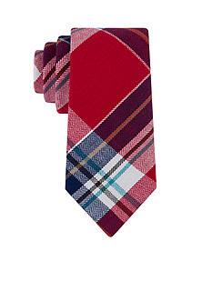 J. Khaki Finn Chevron Plaid Red Tie