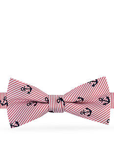 J. Khaki Stripe Anchor Print Bow Tie