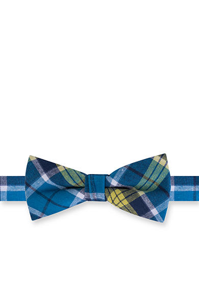 J. Khaki® Hudson Cotton Plaid Aqua Bow Tie