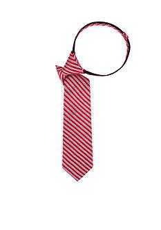 J. Khaki Fine Line Stripe Red Zipper Tie
