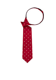 J. Khaki Half Drop Dot Red Zipper Tie