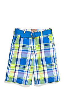 Red Camel Boys® Flat Front Plaid Shorts with Belt Boys 8-20