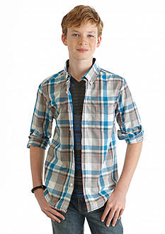 Red Camel Plaid Woven Shirt Boys 8-20