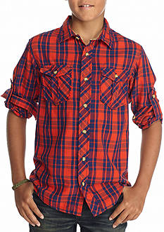 Red Camel® Plaid Button Front Shirt Boys 8-20