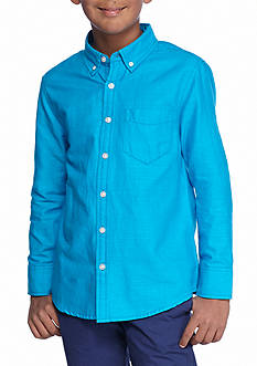 Red Camel® Long Sleeve Blue Slub Oxford Woven Top Boys 8-20