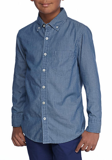 Red camel chambray woven shirt boys 8 20 belk for Chambray shirt for kids