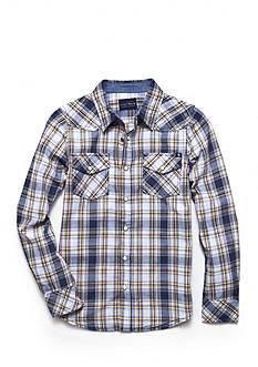 Lucky Brand Plaid Woven Indigo Shirt Boys 8-20