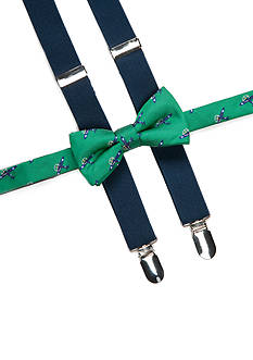 J. Khaki Airplane Bow Tie and Adjustable Suspender Set Boys 4-20
