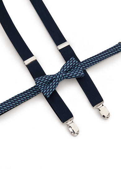 J Khaki Fish Bow Tie And Adjustable Suspender Set Boys 4