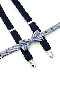 J. Khaki Anchor Print Bow Tie and Adjustable Suspender Set Boys 4-20