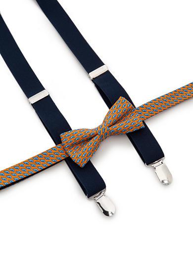 J Khaki Fish Print Bow Tie And Adjustable Suspender Set Bo