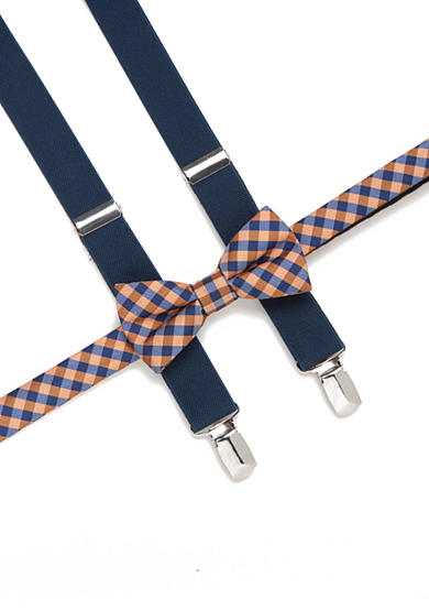 J. Khaki® Gingham Check Bow Tie and Adjustable Suspender Set Boys 4-20