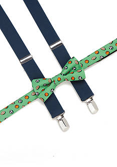 J. Khaki Sports Novelty Bow Tie and Suspender Set Boys 4-20