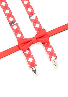 J. Khaki Houndstooth Red Bow Tie and Suspender Set