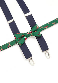 J. Khaki Santa Bow Tie and Suspender Set