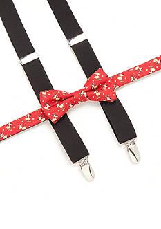 J. Khaki Reindeer Printed Bow Tie and Suspender Set
