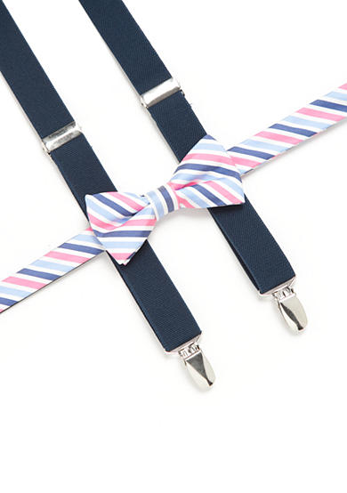 J. Khaki® Stripped Bow Tie and Navy Suspender Set