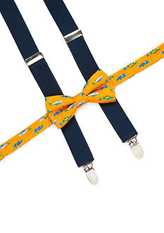 J. Khaki Fish Bow Tie and Navy Suspender Set