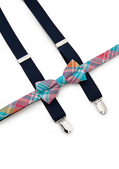 J. Khaki Plaid Bow Tie and Adjustable Suspender Set Boys 4-20