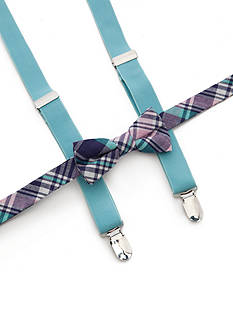 J Khaki™ Plaid Bow Tie and Adjustable Suspender Set Boys 4-20