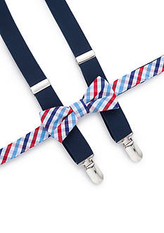 J. Khaki® Check Bow Tie and Adjustable Suspender Set Boys 4-20