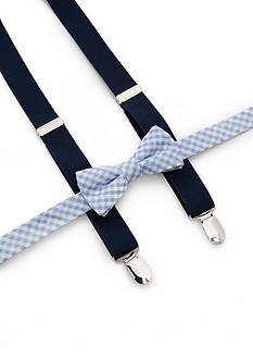 J. Khaki Gingham Bow Tie and Adjustable Suspender Set Boys 4-20