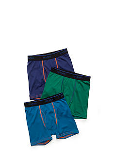 Hanes XTemp Poly Jersey Black Boxer Briefs Boys 8-20