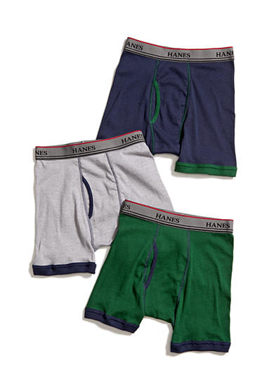 Hanes® Set of 3 Ringer Boxer Briefs Boys 4-20