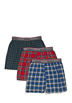 Hanes 3 Pack Tagless® Plaid Boxers Boys 4-20