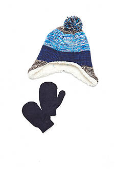 Capelli New York 2-Piece Striped Knit Pom Pom Hat And Mittens Set Toddler Boys