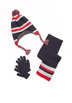 Capelli New York 3-Piece Striped Hat, Scarf, and Glove Set Boys 4-20