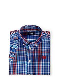 Chaps Plaid Poplin Woven Sport Shirt Boys 4-7