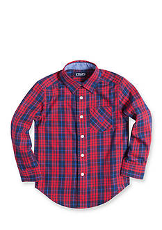 Chaps Long Sleeve Plain Button Down Shirt Boys 4-7