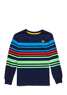 Chaps Long Sleeve Striped Navy Tee Boys 4-7