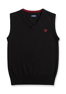 Chaps Solid Black Sweater Vest Boys 8-20