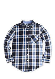 Chaps Long Sleeve White Sand Woven Button Down Shirt Boys 8-20