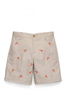 J. Khaki® Flat Front Embroidered Shorts Boys 8-20