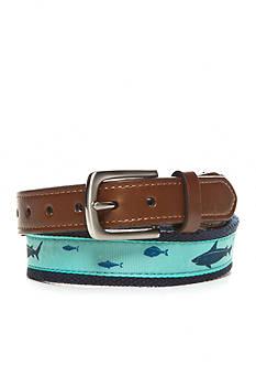 J. Khaki Shark Print Overlay Belt Boys 8-20
